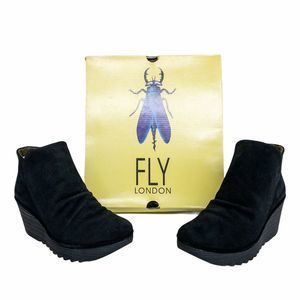 FLY London Black Yip Suede Ankle Booties 9.5